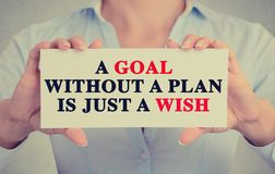 Woman hands holding sign with a goal without plan is just wish message royalty free stock image