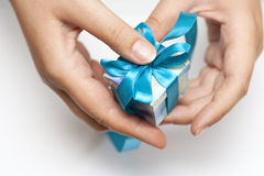 Woman hands holding small gift Stock Image