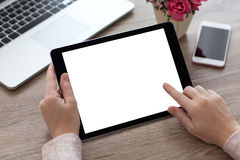 Woman hands holding tablet PC computer with isolated screen stock photography