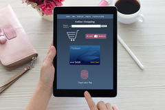 Woman hands holding tablet PC computer online shopping touch pay Royalty Free Stock Images
