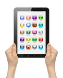 Woman hands holding tablet PC with icons Stock Photography