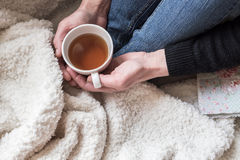 Woman hands holding tea cup Royalty Free Stock Image