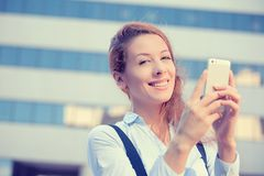 Woman hands holding, using smart, mobile phone Royalty Free Stock Image