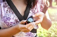 Woman hands holding watch Stock Photography