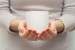 Woman hands holding white cup of tea or coffe Royalty Free Stock Image