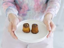 Woman hands holding white round plate of Assorted Canneles stock image