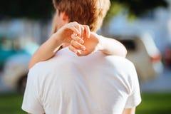 Woman hands Hugging Man stock photo