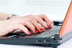 Woman hands on the keyboard Stock Image