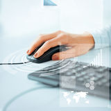 Woman hands with keyboard and mouse Stock Images