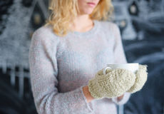 Woman hands in knitted mittens Stock Photos