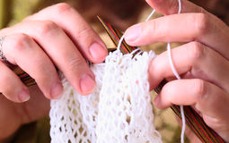 Woman hands knitting Royalty Free Stock Photo