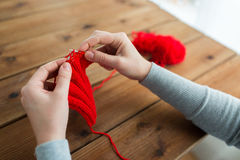 Woman hands knitting with needles and yarn Stock Images