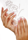 Woman hands and lace Stock Image