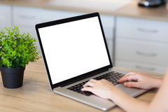 Woman hands in laptop with isolated screen in the room stock photo