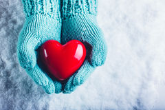 Woman hands in light teal knitted mittens are holding a beautiful glossy red heart in a snow background. St. Valentine concept. Stock Image