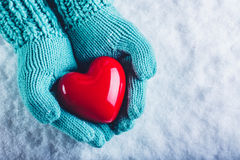 Woman hands in light teal knitted mittens are holding a beautiful glossy red heart in a snow background. St. Valentine concept. Stock Images