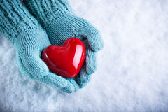 Woman hands in light teal knitted mittens are holding a beautiful glossy red heart in a snow. Love and St. Valentine concept.