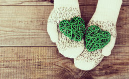 Woman hands in light teal knitted mittens are holding green hear Royalty Free Stock Images