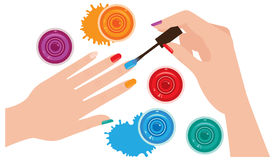 Woman hands with manicure closeup coloring nails bright nail Sto Royalty Free Stock Photos