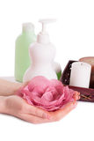 Woman hands with manicure and hand care products Royalty Free Stock Photos