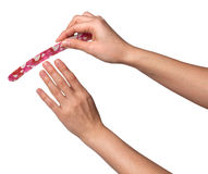 Woman hands manicure with nail file isolated on white Stock Photo