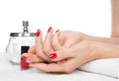 Woman hands manicure red nails Royalty Free Stock Photo