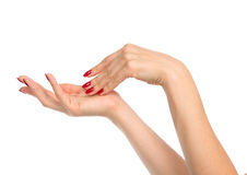 Woman hands with manicured red nails Stock Image