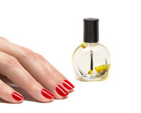 Woman hands with manicured red nails closeup. Royalty Free Stock Photo