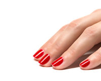 Woman hands with manicured red nails closeup. Royalty Free Stock Image