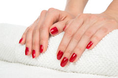 Woman hands with manicured red nails Royalty Free Stock Photos
