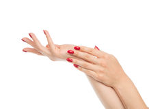 Woman hands with manicured red nails Royalty Free Stock Photo