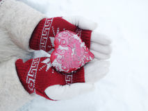 Woman hands in mittens with red heart on snow Stock Image