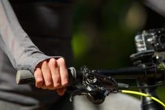 Woman hands on modern sport bike Stock Image