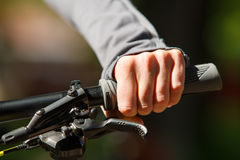 Woman hands on modern sport bike Royalty Free Stock Photography