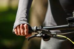 Woman hands on modern sport bike Stock Photo