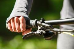 Woman hands on modern sport bike Royalty Free Stock Photos