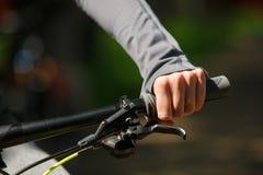 Woman hands on modern sport bike Stock Photos