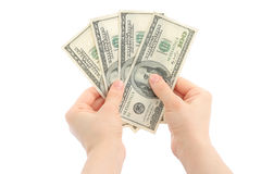 Woman hands with money Royalty Free Stock Photo