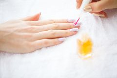 Woman hands in a nail salon receiving a manicure procedure. SPA. Manicure royalty free stock photo