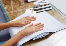 Woman hands with nails before treatment Stock Image