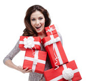 Woman hands a number of gift boxes Royalty Free Stock Image