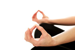 Woman hands in ohm yoga pose Stock Photos