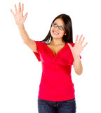 Woman with hands open Royalty Free Stock Image