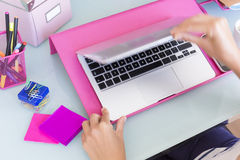 Woman hands opening a laptop Stock Photography