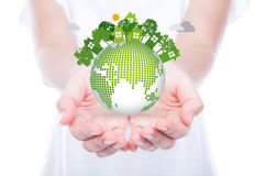 Woman hands over body hold eco friendly Royalty Free Stock Photo