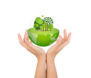 Woman hands over body hold eco friendly Royalty Free Stock Photos