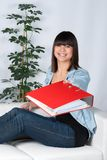 Woman hands over a file Stock Images