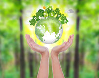 Woman hands over green forest hold eco Stock Photography