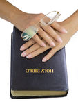Woman hands over holy bible Royalty Free Stock Images