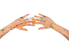 Woman hands in paint make a free shape Royalty Free Stock Photos